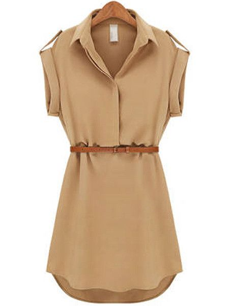 Women's Lapel Chiffon Cap Stretch Sleeve Shirt Mini Belted Dress