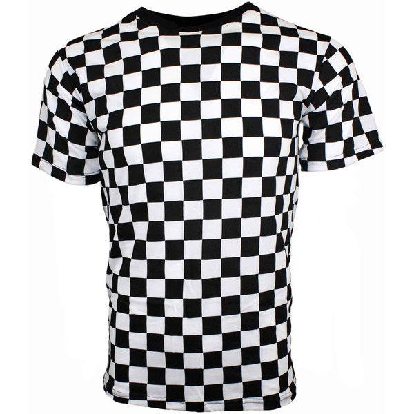 Men S Short Sleeve Black White Checkered Shirt 22 Liked On