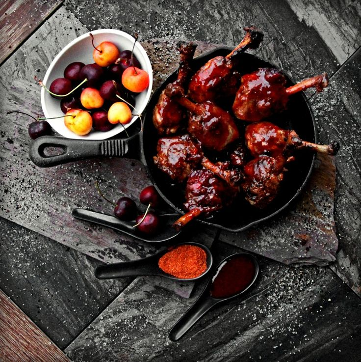 Traverse City Tart Cherry Bourbon BBQ Chicken | A Bachelor and His Grill. A little Country… A lot of Rock 'n Roll!! This recipe combines flavors that are dynamic, a touch smoky, and a little sweet with a kick of heat! We begin with succulent, trimmed chicken legs, massaged with a bold, spicy dry rub and finished with a Tart Cherry Bourbon BBQ Sauce, inspired by my recent travels to the coastlines of rustic, Northern Michigan – Wine and Cherry Country.