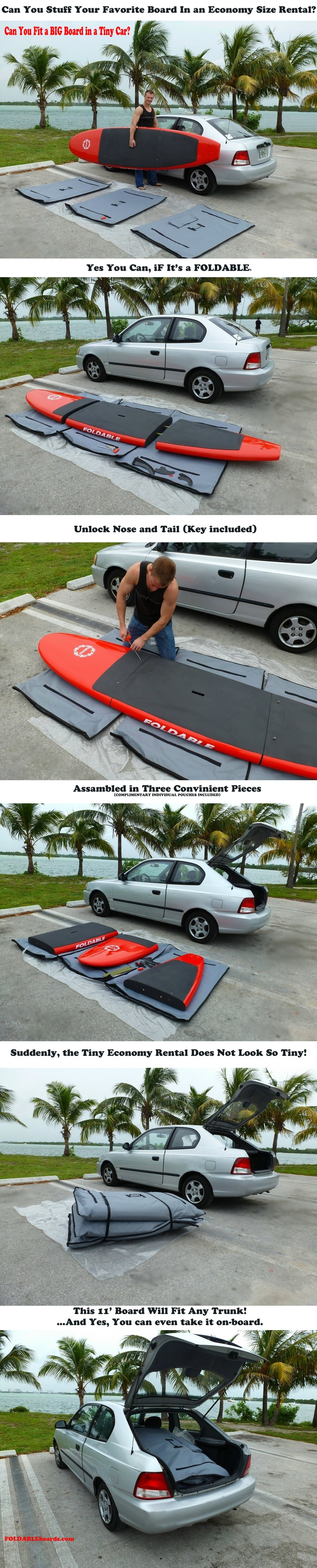 Can you fit a large 11ft board in an economy size car rental