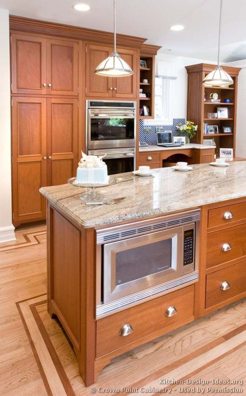 Under Countertop Microwave : ... Under-counter microwave in the kitchen island. Lovely wood floor