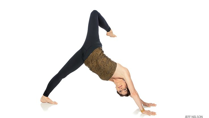 Three-Legged Downward-Facing Dog Pose | Begin in Down Dog. Consider any rigid places in your life and ask to live with greater generosity. Lift your right leg up behind you, squeeze to the midline, and turn the inner thigh up to the sky. Bend your right knee and open up the hip and thigh with external rotation. Imagine you are sending massive amounts of compassion from your heart out into the world as you stretch open. After 5 breaths, step your right leg forward into a Low Lunge.