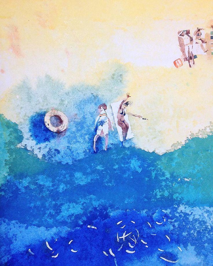 Сегодня я квадрокоптер)))). Полетала над  пляжем. Слово Пляж какое то не Русское. Или необычное. Наверное как то от слова полежать ?)))) . Если кто знает- напишите))) Интересно стало!) #акварель #пляж #рисуюкаждыйдень #watercolorpainting #painting #art #лето #отдых #summer #watercolor #illustration #graphic #artkonovalova #topcreator #travel #путешествие #волна