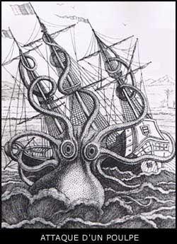 Un poulpe géant attaquant un navire