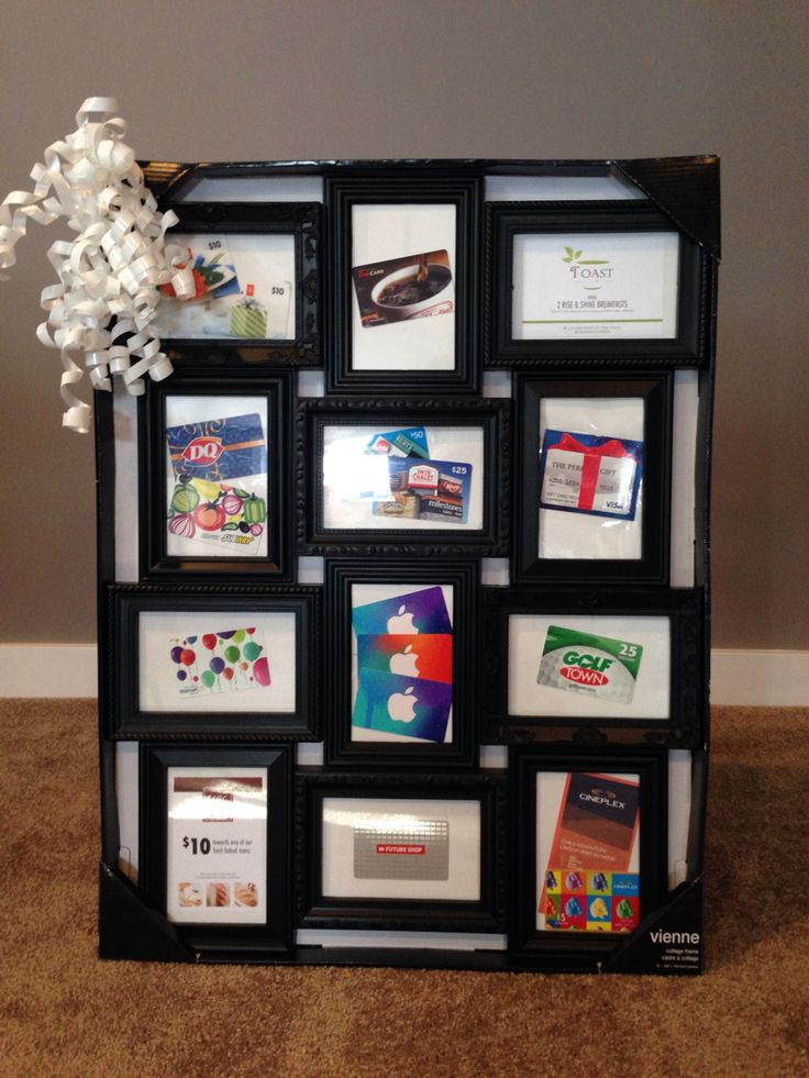 "One of our basket raffle items- giftcards displayed in a multi- frame, can view GC without risk of ""losing""them."