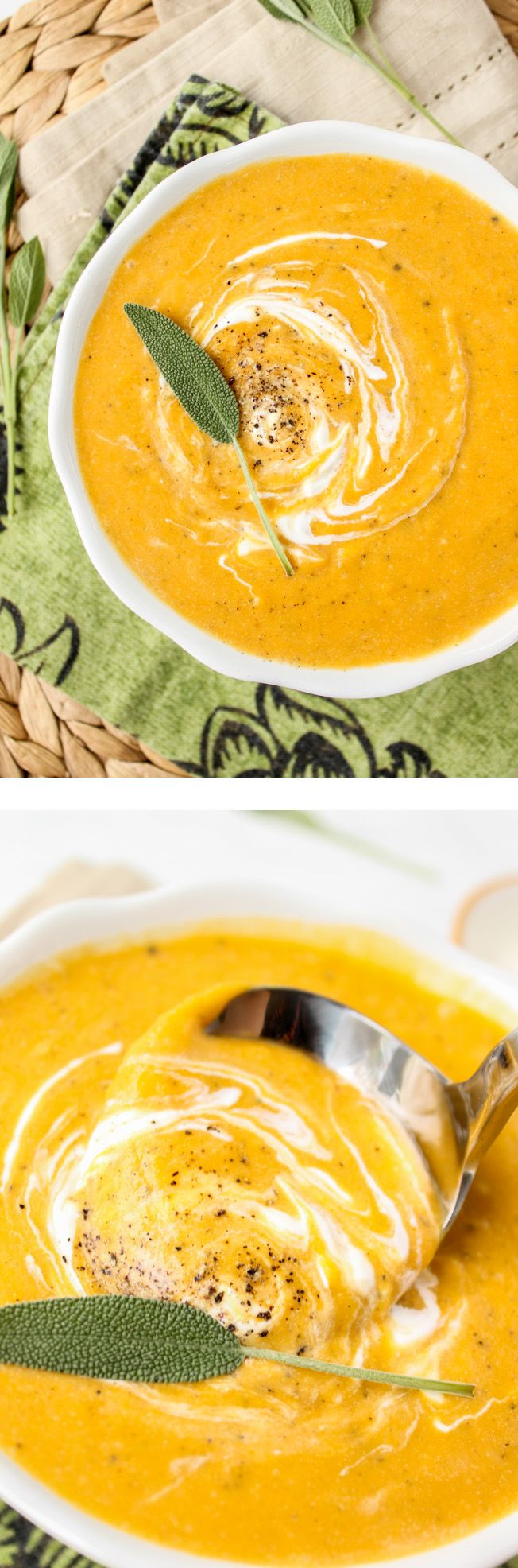 Roasted Butternut Squash Soup from The Food Charlatan // This soup is full of flavor but not calories! Comfort food for a cold night.