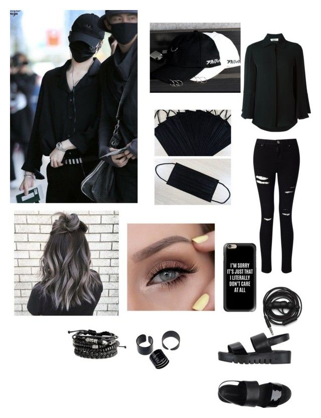 """Yoongi airport inspired outfit"" by bts4ever02 ❤ liked on Polyvore featuring Miss Selfridge, Valentino, Casetify, Urbanears and Jeffrey Campbell"