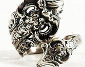 Grand cucchiaio barocco anello, anello in argento cucchiaio, Wallace Spoon modello 1941, gioielli fatti a mano, regali per lei, regolabile anello formato, 5912