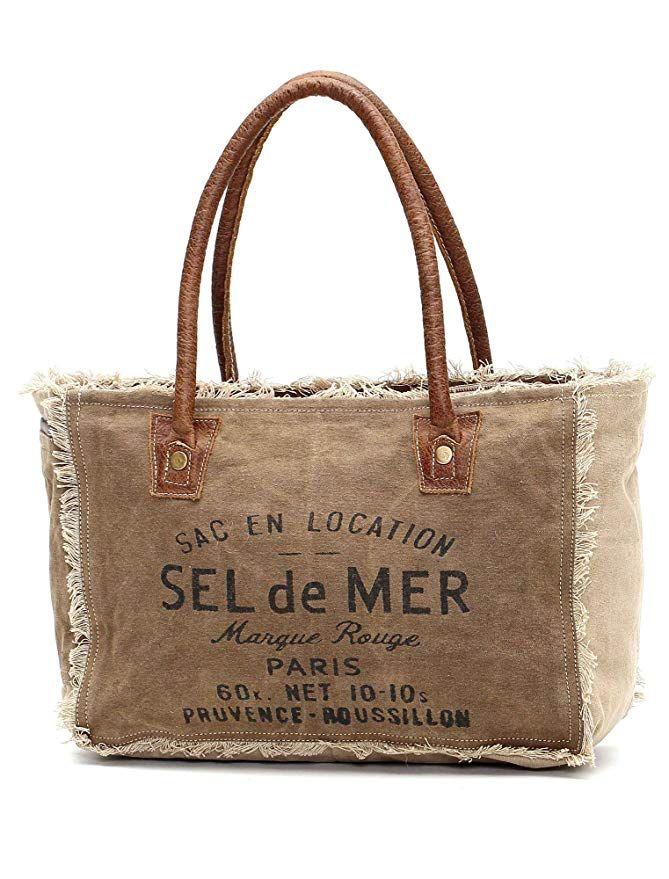 Myra Bags Sel De Mer Upcycled Canvas Hand Bag S 1046 Bags Best Reusable Grocery Bags Linen Bag Designer tote bags for women. pinterest