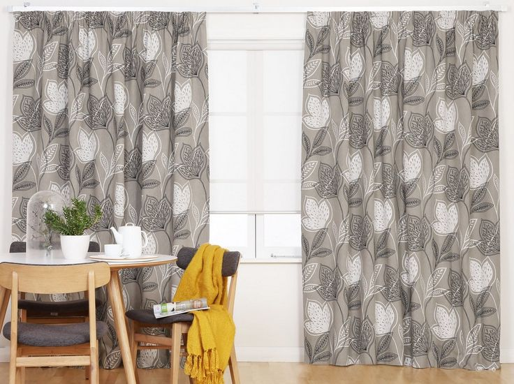 Botanical Grey Thermal Blockout Ready Made Pencil Pleat Curtains