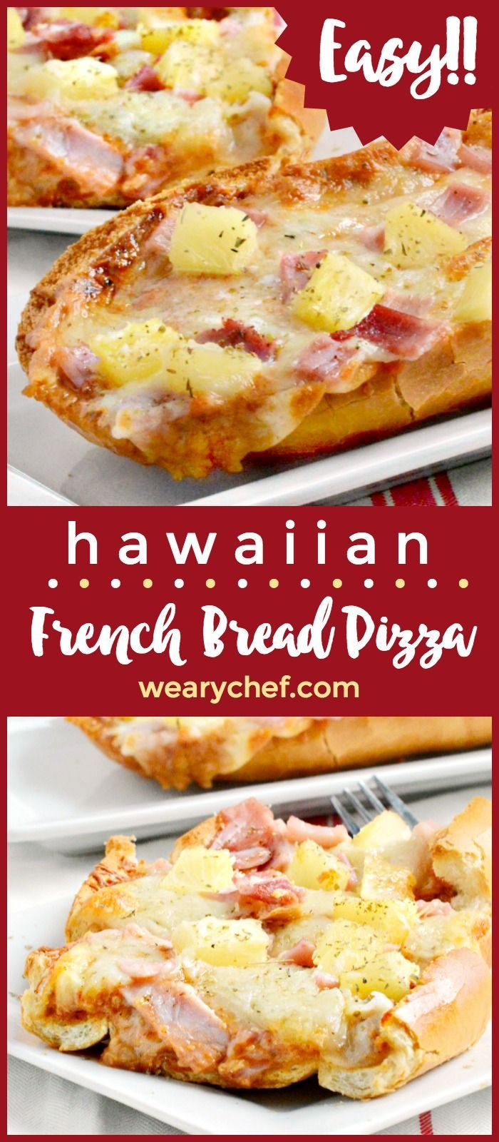 Hawaiian French Bread Pizza is super quick and easy, with the perfect balance of sweet, salty, and a little spicy. Your family will love this easy dinner recipe!