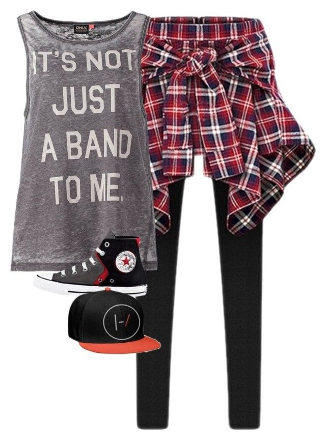 """""""Twenty One Pilots (Shitty set I know)"""" by abiapocalypse ❤ liked on Polyvore featuring ONLY and Converse"""
