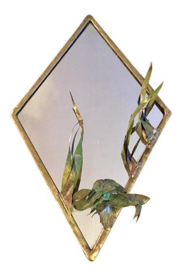 Norbert Roessler Sculptural Bronze Mirror on Chairish.com