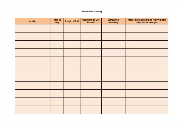 Free Call Log Templates 12 Word Excel Pdf Formats With