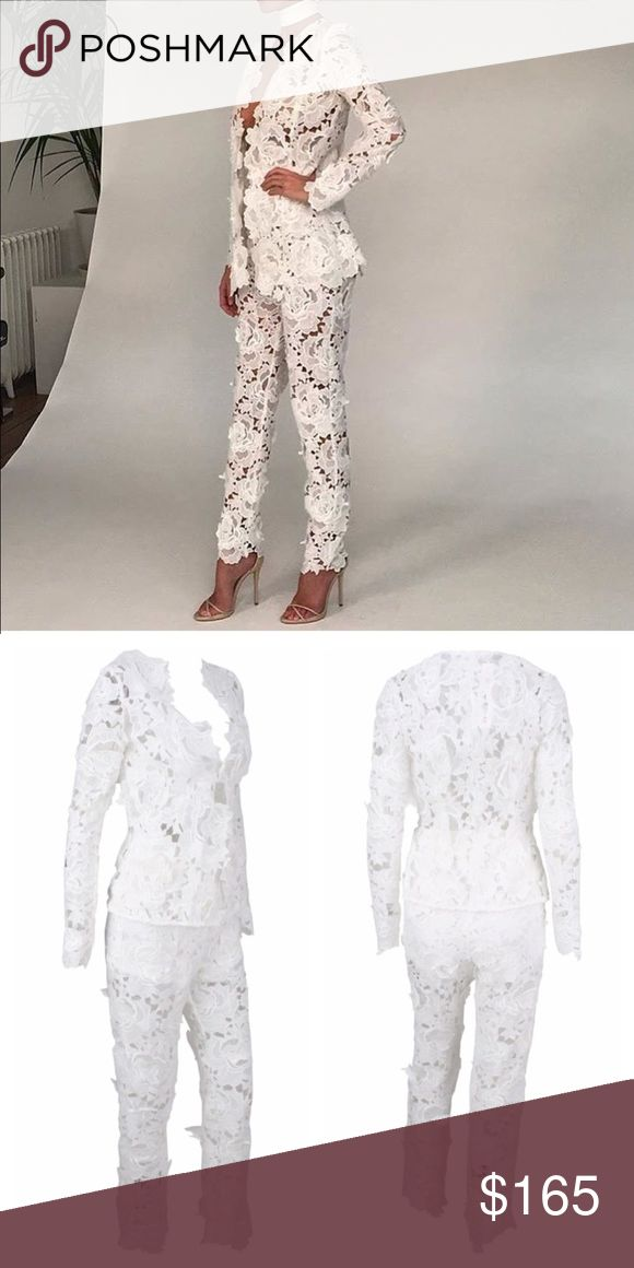 Lace floral cutout 2 piece jumpsuit Very unique! Long pants version to formal cutout romper.. For bridal parties, weddings, birthdays, etc. missguided used for exposure..  AVAILABLE IN BLACK AND WHITE Missguided Pants Jumpsuits & Rompers