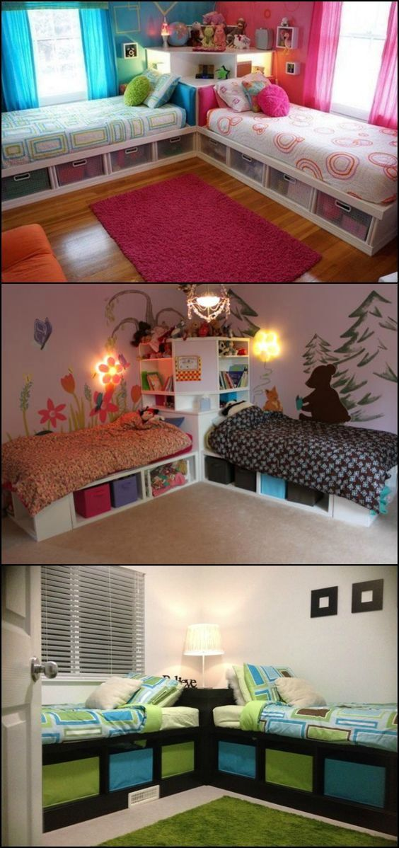 Need a good bed design for two little kids sharing one room? Here's one that maximizes use of space!  Kids will love this bed idea since no one gets the 'bigger' space or 'nicer' bed. Both get exactly the same amount of space and storage. And while this is considered one whole unit, there's still a sense of ownership in their respective areas.  Head over to the tutorial!  http://diyprojects.ideas2live4.com/2015/10/14/how-to-build-twin-corner-beds-with-storage/: