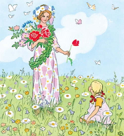 May Day - illustration by Swedish artist / author Elsa Beskow