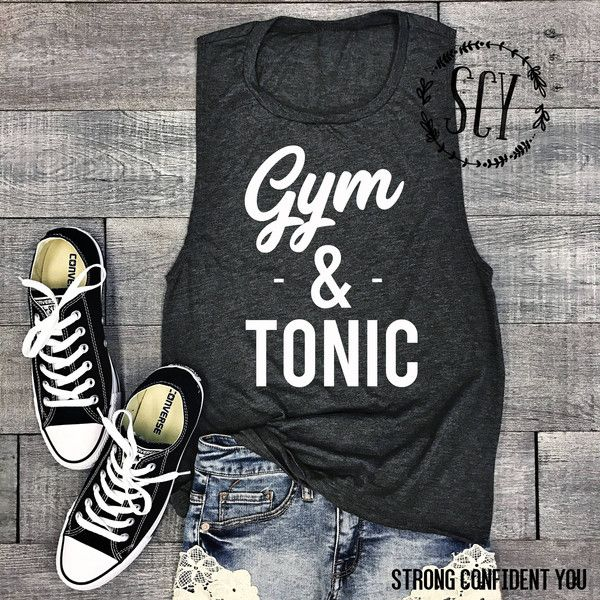 Gym & Tonic Muscle Tank Top Gym Shirt Workout Tank Top Yoga Tee... (32 CAD) ❤ liked on Polyvore featuring activewear, grey, women's clothing and muscle tank