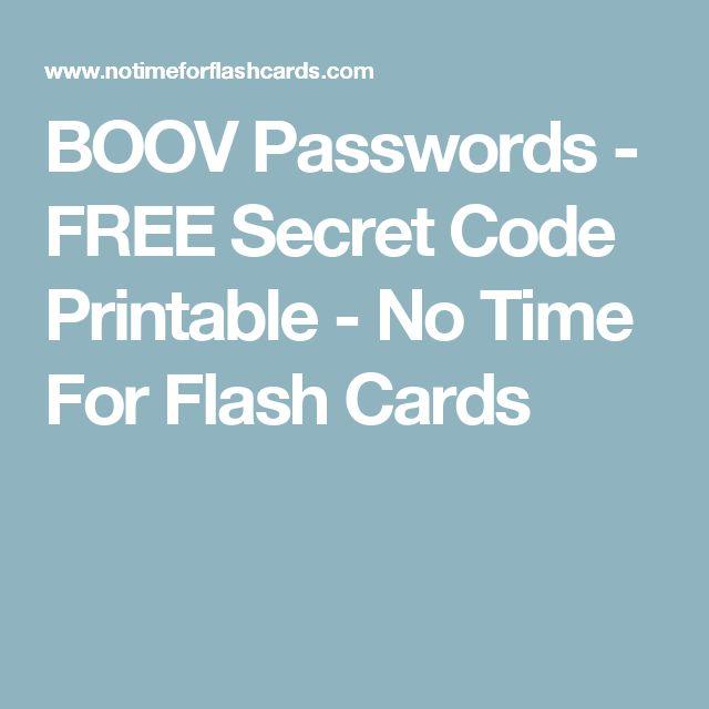 BOOV Passwords - FREE Secret Code Printable - No Time For Flash Cards