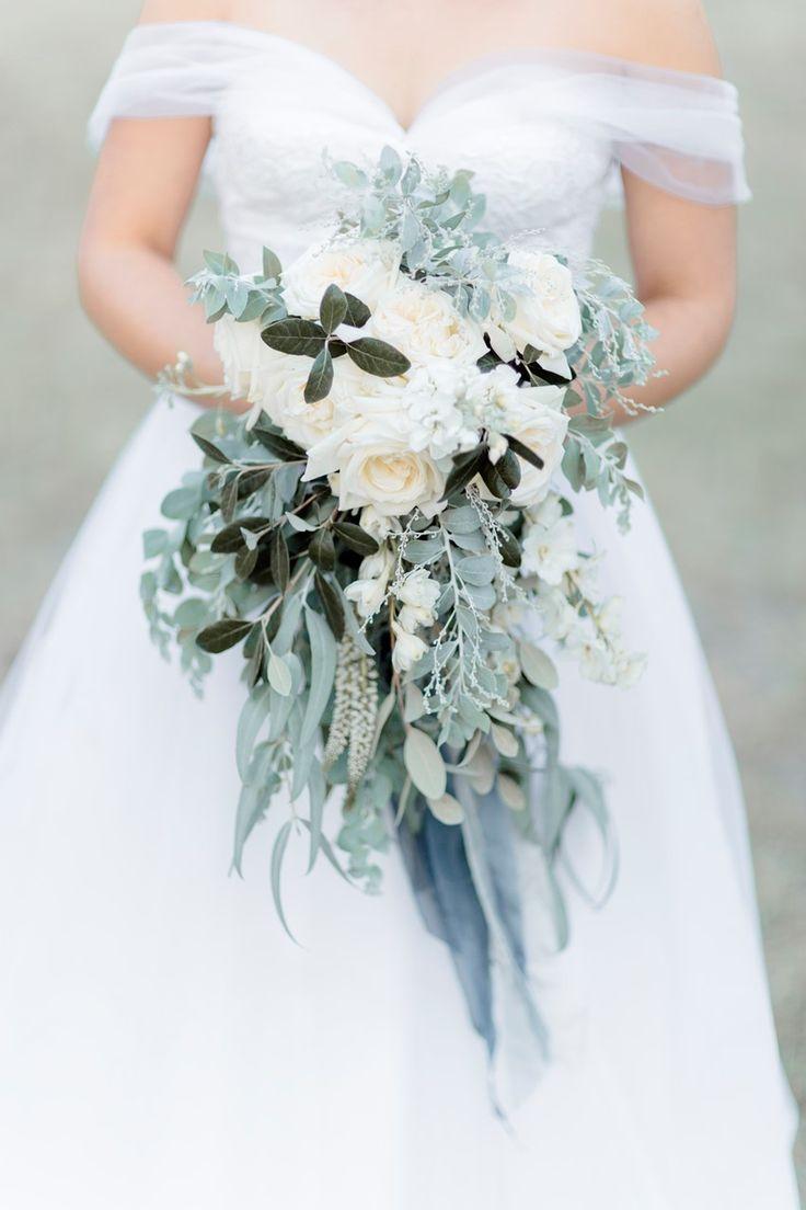 White & Greyed Jade Cascading Bridal Bouquet
