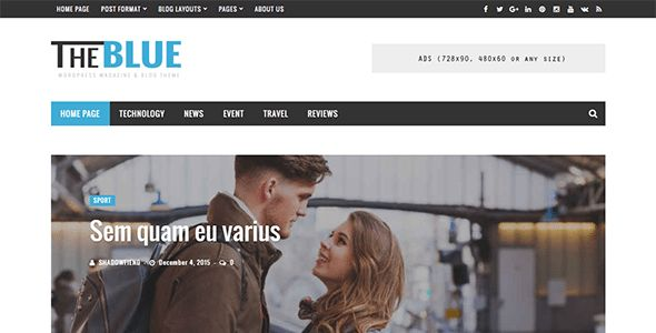 Download The Blue - Responsive WordPress Magazine and Blog Theme (News / Editorial) Nulled
