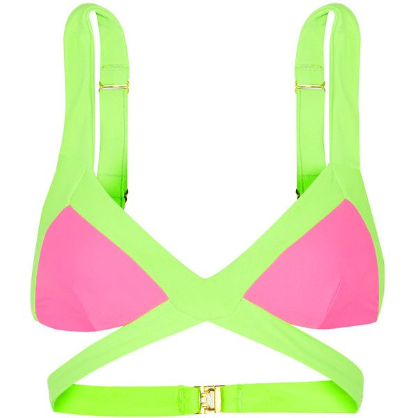 Agent Provocateur Mazzy triangle bikini top (1 610 UAH) ❤ liked on Polyvore featuring swimwear, bikinis, bikini tops, bright green, triangle swimwear, neon pink bikini, swimsuits tops, green bikini top and cut out bikini