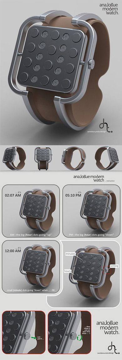 Piston Heads Analog Watch: Consists of 12 large dots as hour indicators and 10 small dots, each divided into 6 sections as minute indicators. The system uses the rise and fall of the dots to tell the time.