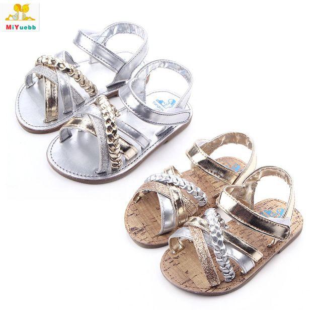 Verão Newborn Prewalker Meninas Do Bebê Sapatos de Sola De Borracha de couro PU Anti-skid Princesa Criança Berço Crianças Lindas Sandálias