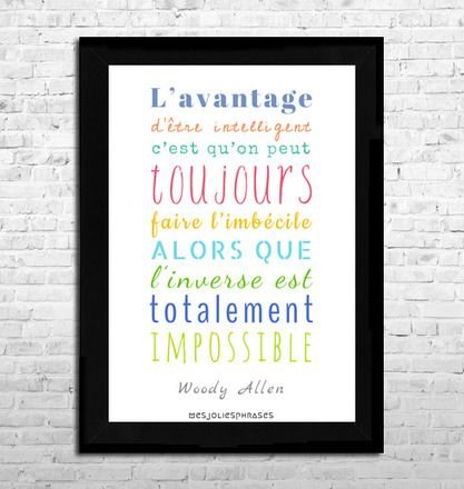 Cette affiche représentant une célèbre citation de Woody Allen sera idéale pour donner une touche colorée à votre intérieur !  Cette création graphique est réalisée par - 14392855