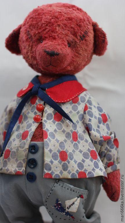 Купить Семён. - бордовый, Плюшевый мишка, плюш, плюшевая игрушка, плюш винтажный, тедди мишка