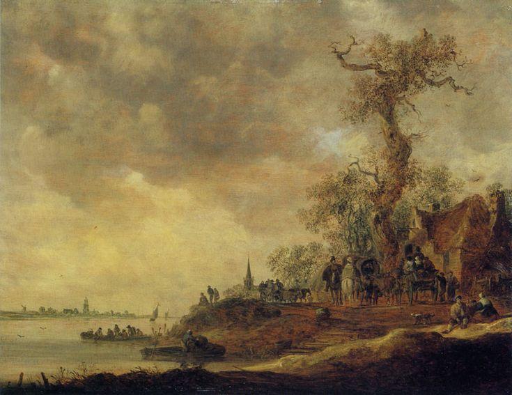Jan van Goyen - Rivierlandschap met een herberg