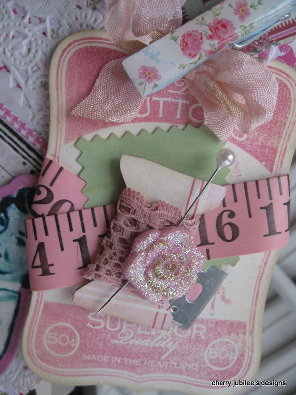 KItschy cottage 1950s sewing pocket full of handmade tags gift treat bag decoration