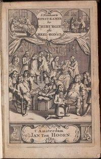 Titelpagina S. Blankaart, ... der chirurgie,1680. amputatie, aderlaten