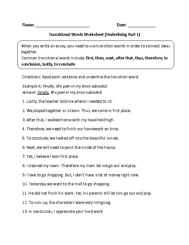 Underlining Transitional Words Worksheet