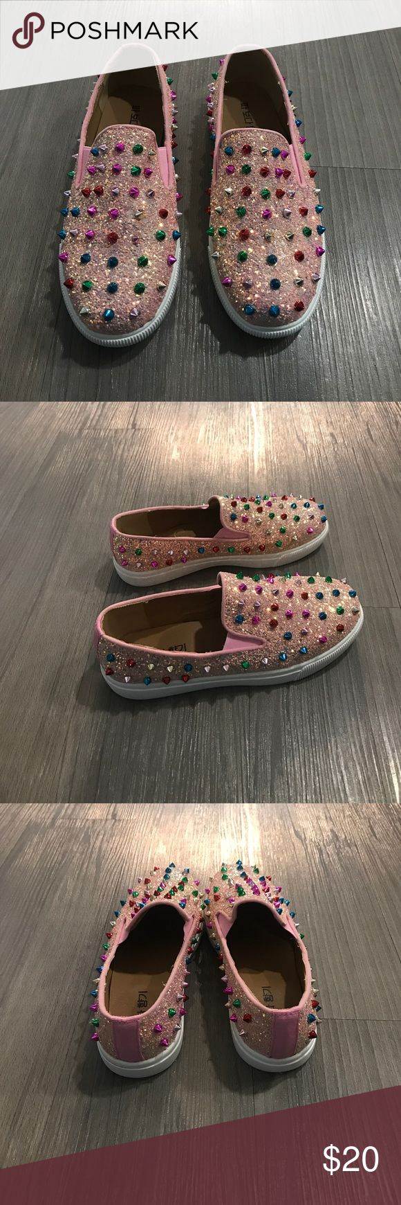 Kids DESIGNER STYLE SLIP ON STUDDED SNEAKER SHOES Size 4 worn a few times has different colored studs and pink glitter have other cute stuff on different listings and can bundle Shoes