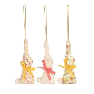 Maileg Bunny Ornament (Set Of 3) How precious! Spruce up your Easter collection of ornaments with this set of 3 rabbits.These ornaments come in set of 3 rabbits, and make a great decoration for hanging on a Easter decorative tree.   $24.00 #easter #bunny #gift