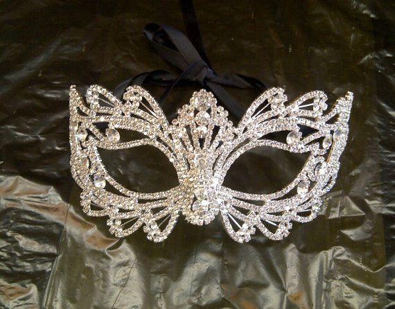 Rhinestone Crystal Masquerade Mask Masquerade Wedding by BingCheri, $70.00
