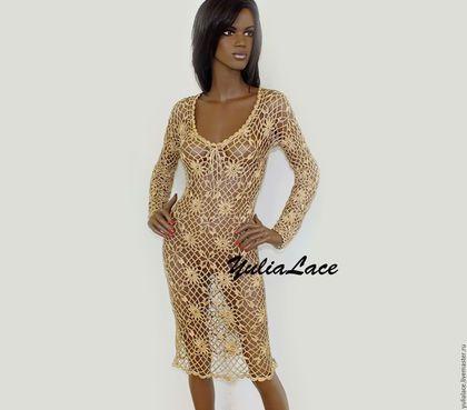 Платья ручной работы. Ярмарка Мастеров - ручная работа. Купить Платье золотистое из вискозного шелка. Handmade. Золотой, кружевное платье