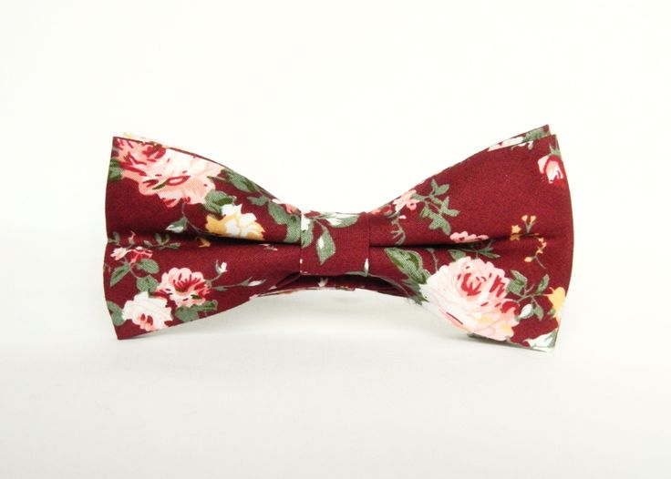Men's floral burgundy bow tie floral Pre-tied bow tie gift for men burgundy wedding bow tie groomsmen by TheStyleHubTrends on Etsy