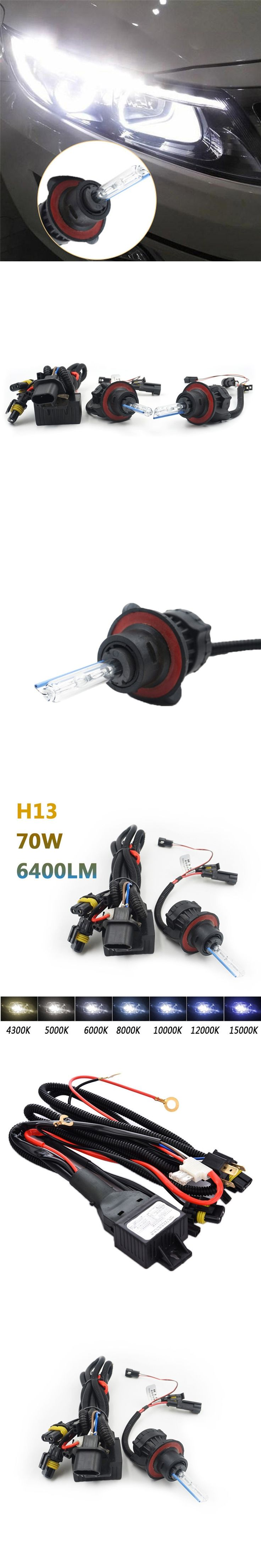 2pcs H13 35W HID Xenon Light 4300K 5000K 6000K 8000K 10000K Auto Polychromatic Light With Cable Assembly Car Headlight bulbs