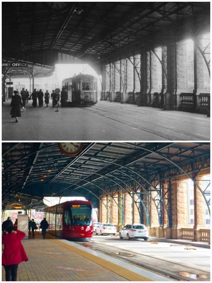 Central Railway Station upper colonnade with tram/light rail 1951>2015 (1951: City of Sydney Archives, 2015: Curt Flood. By Curt Flood)