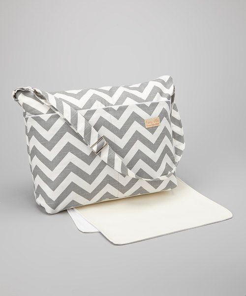 Diaper Bag and Changing Pad.  Waterproof Lining and NEW Vegan leather bottom in Gray Chevron on Etsy, $126.03 CAD