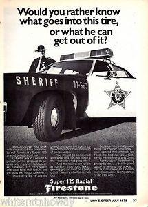 1978 Sheriff w Police Cruiser Car Firestone Super 125 Radiai Tires Ad | eBay