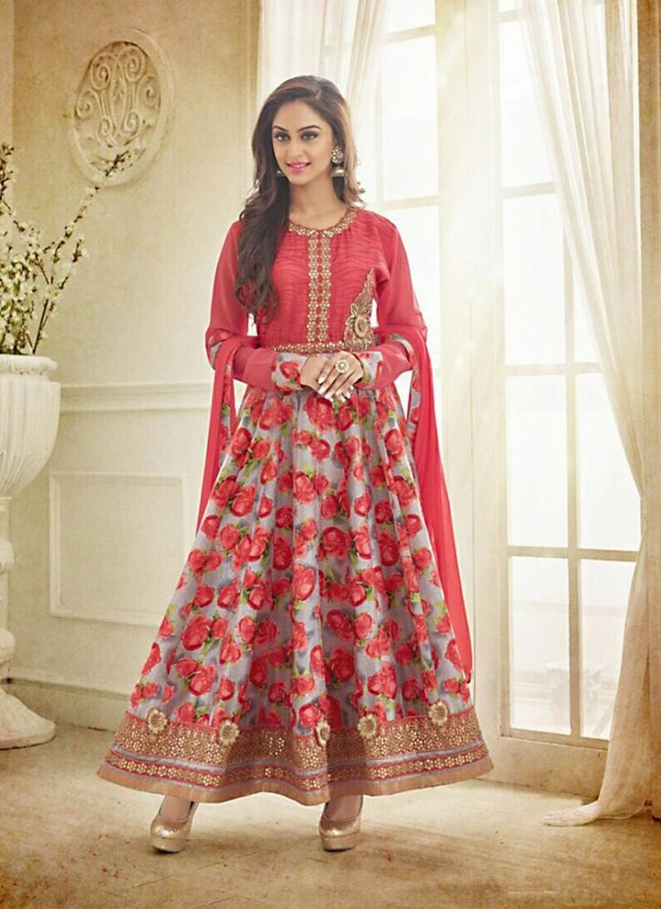A Line Style Gray & Red Color with Butta Work Incredible Unstitched Salwar Kameez