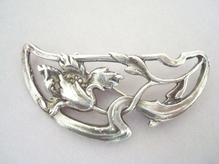 Online veilinghuis Catawiki: Zilveren Art Nouveau Jugendstil bloem broche