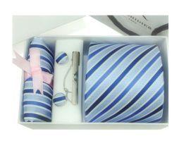 Luxusná kravatová súprava s modrým pásikavým vzorom http://www.hodvab.eu
