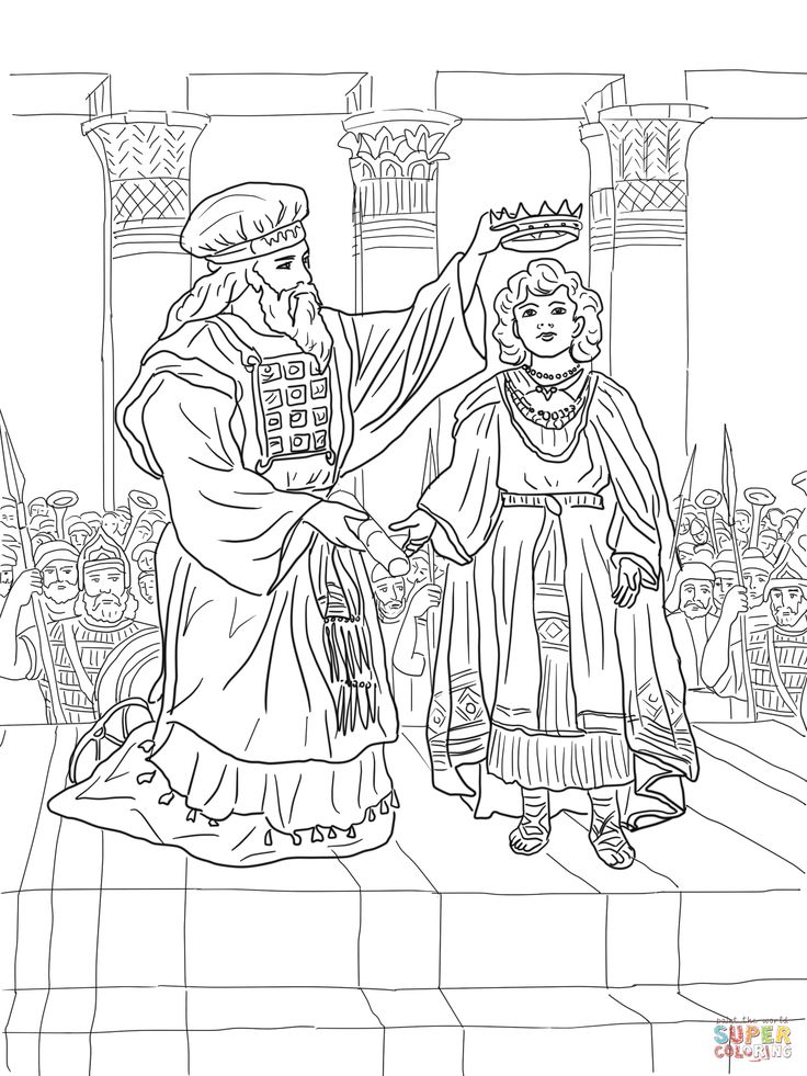 King joash crowned coloring page for Josiah coloring page