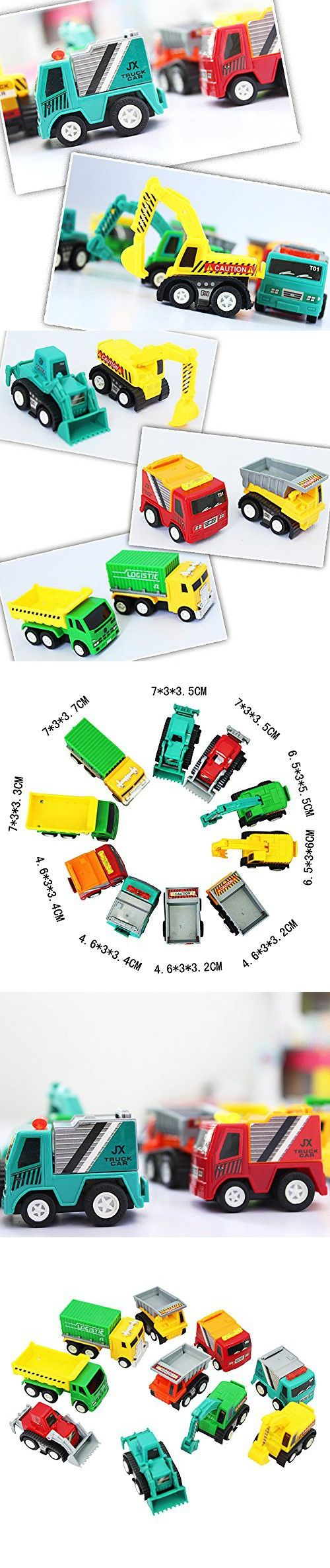 6MILES 10 Pcs Mini Push Pull Back Car Model Kit Set Plastic Play Vehicle Construction Excavator Dump Truck Playset Preschool Learning for Children Toddlers for Kid Baby Christmas Birthday Gift Set