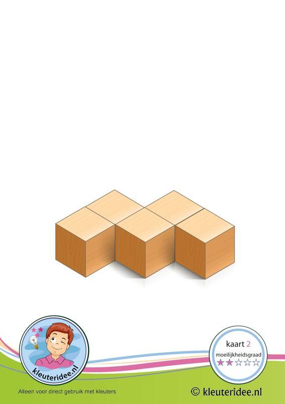 50 Bouwkaarten: Bouwkaart 2 moeilijkheidsgraad 2 voor kleuters, kleuteridee, Preschool card building blocks with toddlers 2, difficulty 2