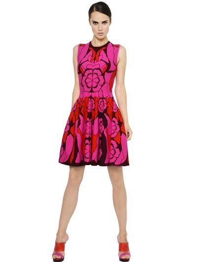 Alexander McQueen floral viscose blend jacquard dress